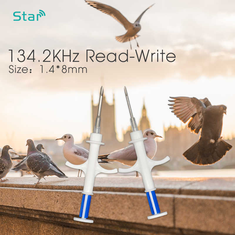 (20 sztuk/partia) FDX-B 1.4*8mm 134.2KHz RFID szkło Tag do implantacji zwierząt ID Microchip z strzykawki, pies kot ryby strzykawki