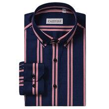 Erkek çizgili % 100% pamuk standart fit kırışıklık ücretsiz elbise gömlek rahat akıllı rahat uzun kollu düğme aşağı gömlek