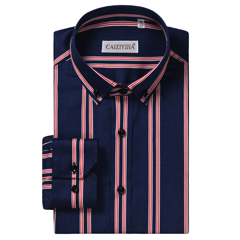 Men's Striped 100% Cotton Standard-fit Wrinkle Free Dress Shirt Comfortable Smart Casual Long Sleeved Button Down Shirts