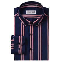 Mens Striped 100% Cotton Standard fit Wrinkle Free Dress Shirt Comfortable Smart Casual Long Sleeved Button Down Shirts