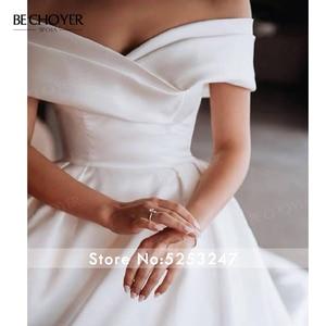 Image 5 - מתוקה כבוי כתף סאטן שמלות כלה אפליקציות אונליין משפט רכבת BECHOYER I193 נסיכת כלה שמלת Vestido דה novia