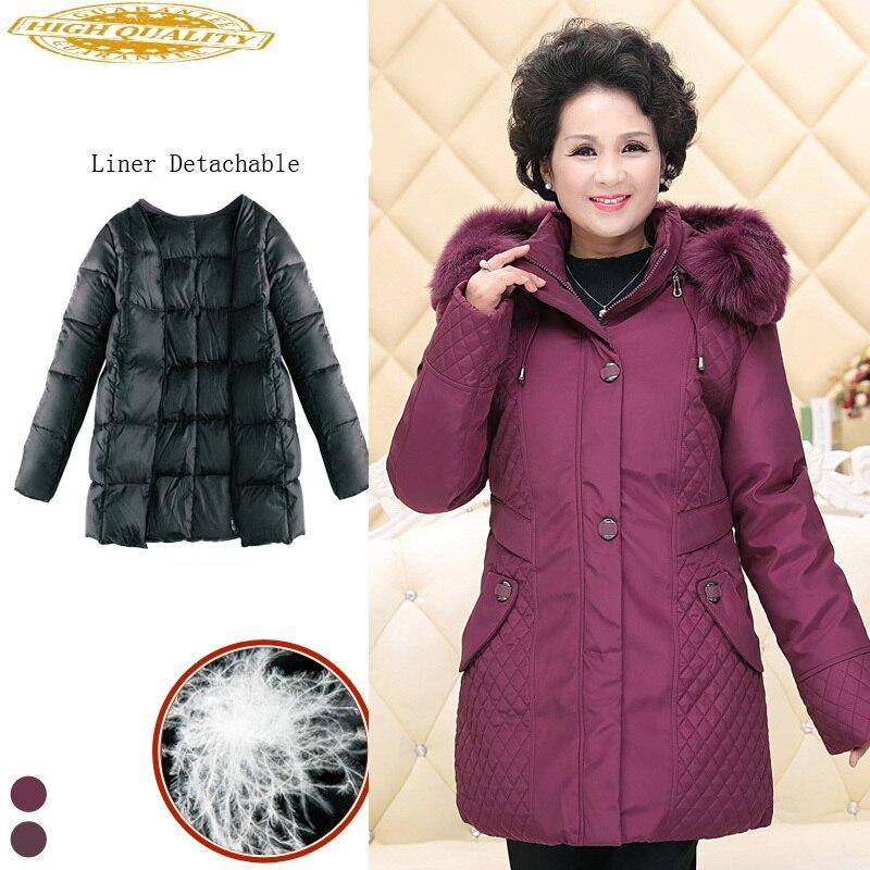 Women's Jackets For Elderly Women Hooded Detachable Liner Down Jacket Parka Plus Size Long Coat Female Sobretudo KJ484