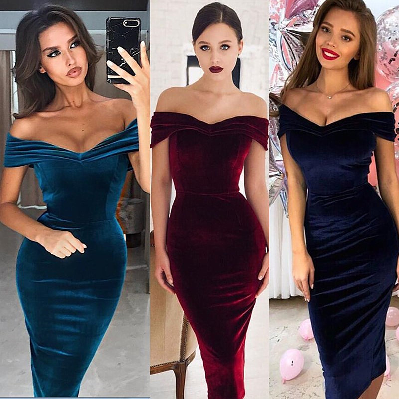 New Evening Dress Slim Ladies Temperament Commuting Collar Off Shoulder Evening Dress Slim Backless Dress Mid Skirt