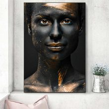 Black and Gold Woman Oil Painting on Canvas African Art Cuadros Posters and Prints Scandinavian Wall Art Picture for Living Room(China)