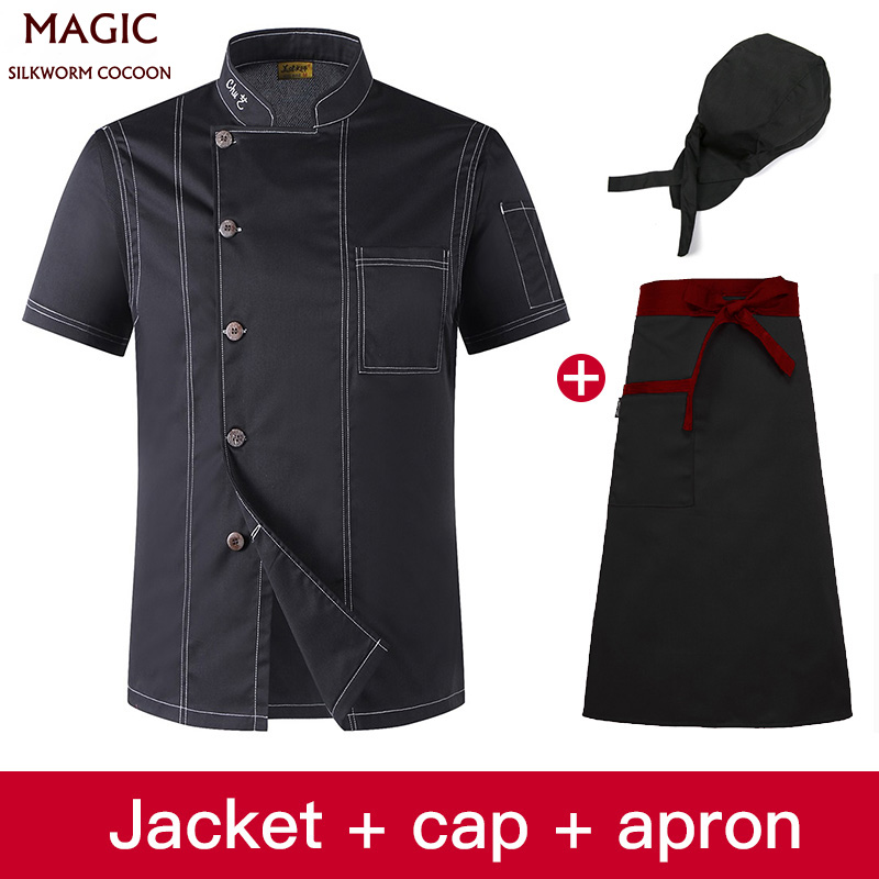 Chef Overalls Hotel Uniform Factory Outlet Solid Color Stand Collar Breathable Short Sleeve Kitchen Sushi Uniform+hat+apron