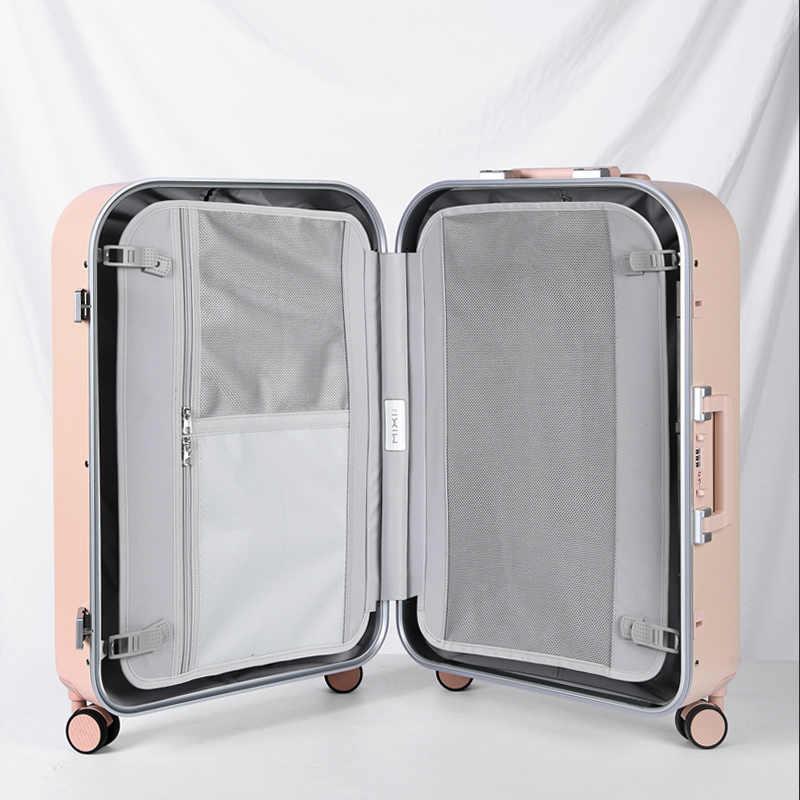 Mixi Esthetische Designer Bagage Aluminium Frame Vrouwen Reizen Koffer Pc Hard Shell Trolley Case Rollende Wielen Tsa Slot