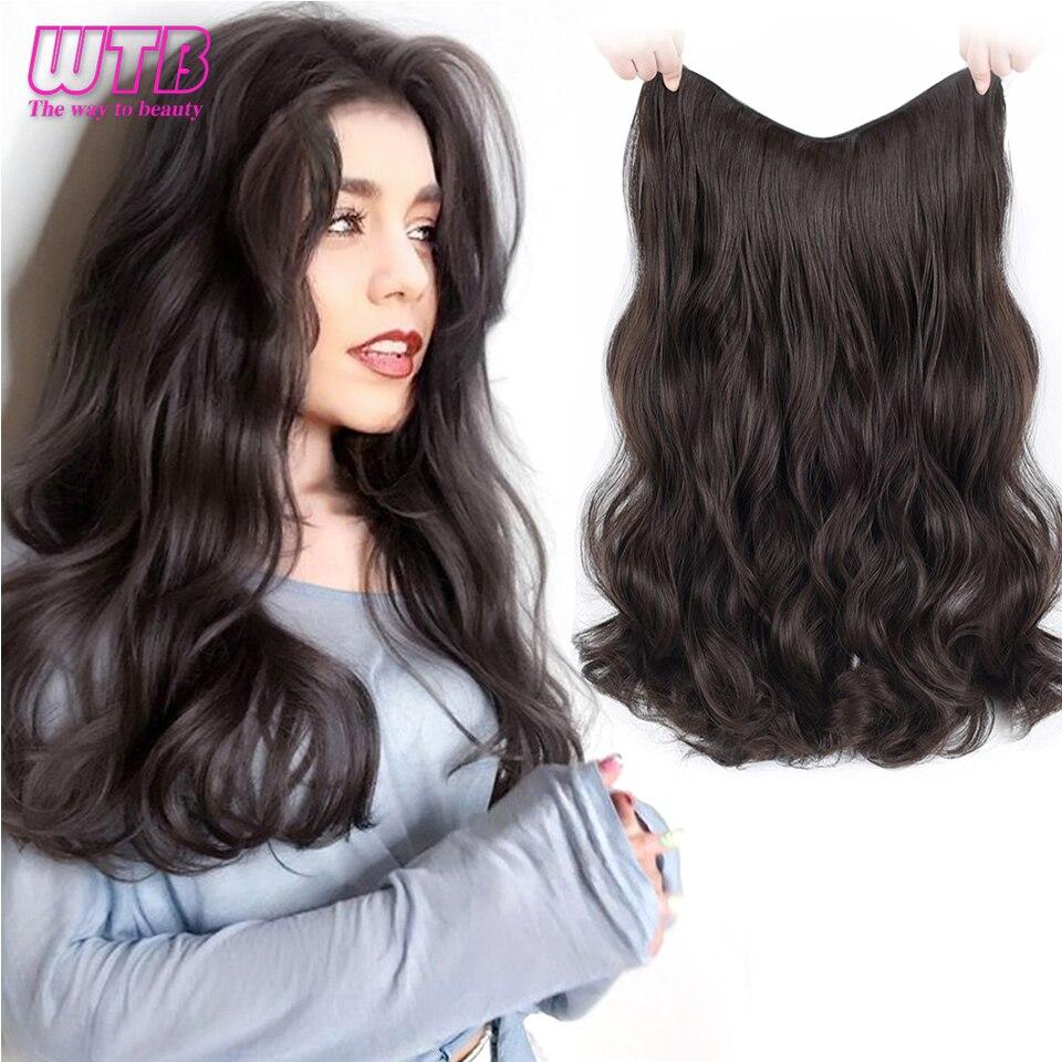 Wtb longo encaracolado 4 clipes em uma peça extensão do cabelo sintético cabelo natural para as mulheres dois estilo invisível fofo falso pedaço de cabelo