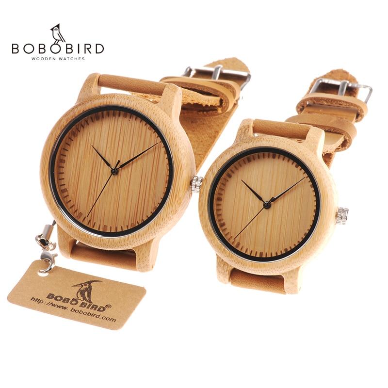 BOBO oiseaux amoureux bois montres pour femmes hommes en cuir bande bambou Couple décontracté Quartz montres OEM comme cadeau