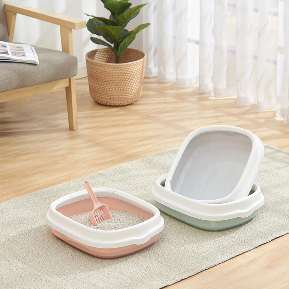 Pet Cat Litter Bowl Toilet Bedpan Portable Large Middle Size Cat Excrement Training Sand Litter Box with Scoop for Pets Kitty