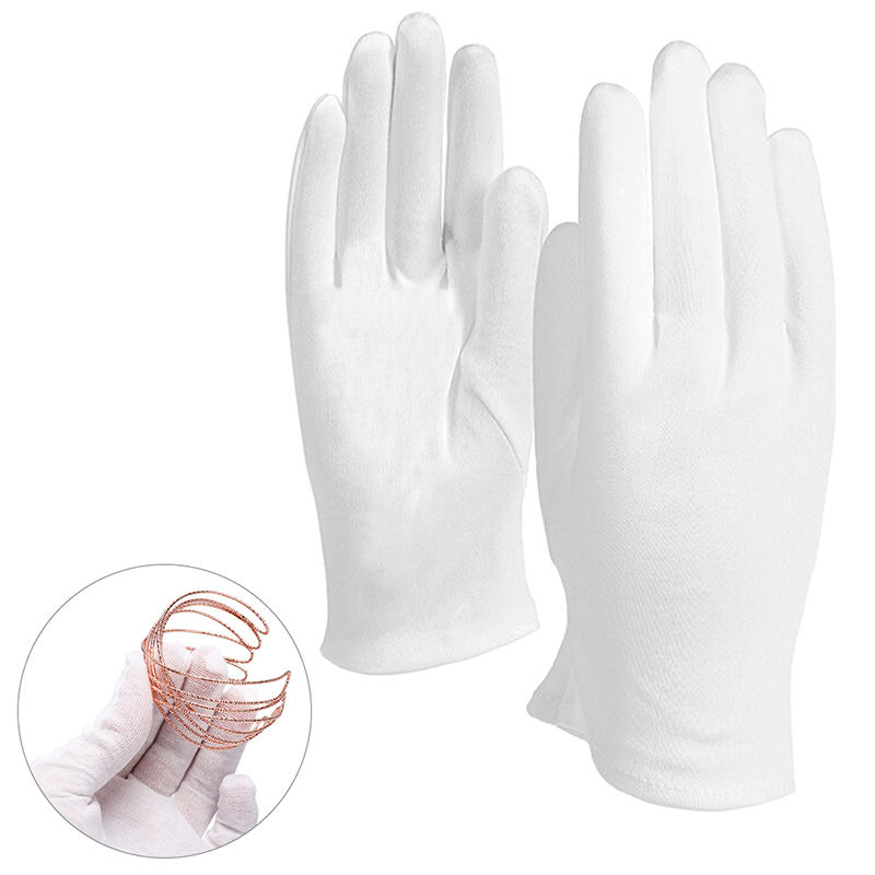 6 Pairs White Gloves Inspection Cotton Work Gloves Jewelry Lightweight