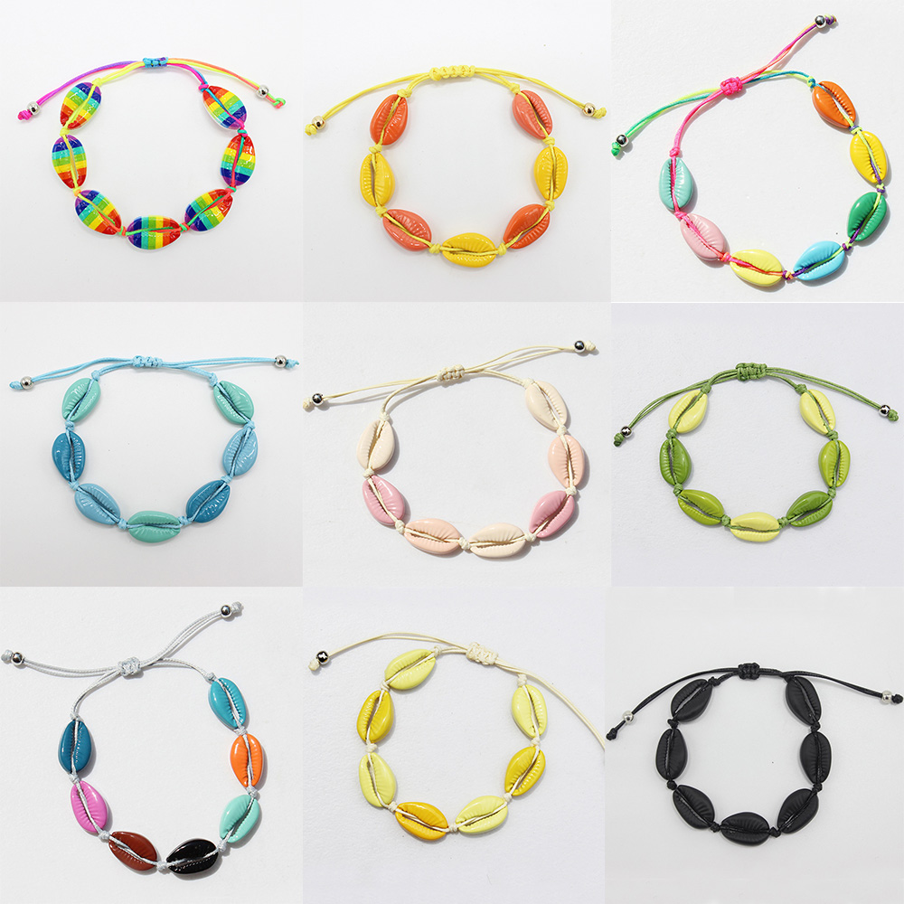 2019 New Colorful Cowrie Summer Rainbow Sea Shell Bracelet for Women Handmade Adjustable Rope Chain Fashion Beach Jewelry Gift