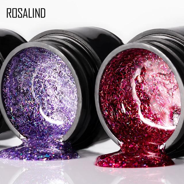 ROSALIND 12PCS/SET Shiny Silk Gel Nail Polish Manicure Kit Nail Art Design  Hybrid Glitter Platinum Gel Lacquer Top Base Coat 3