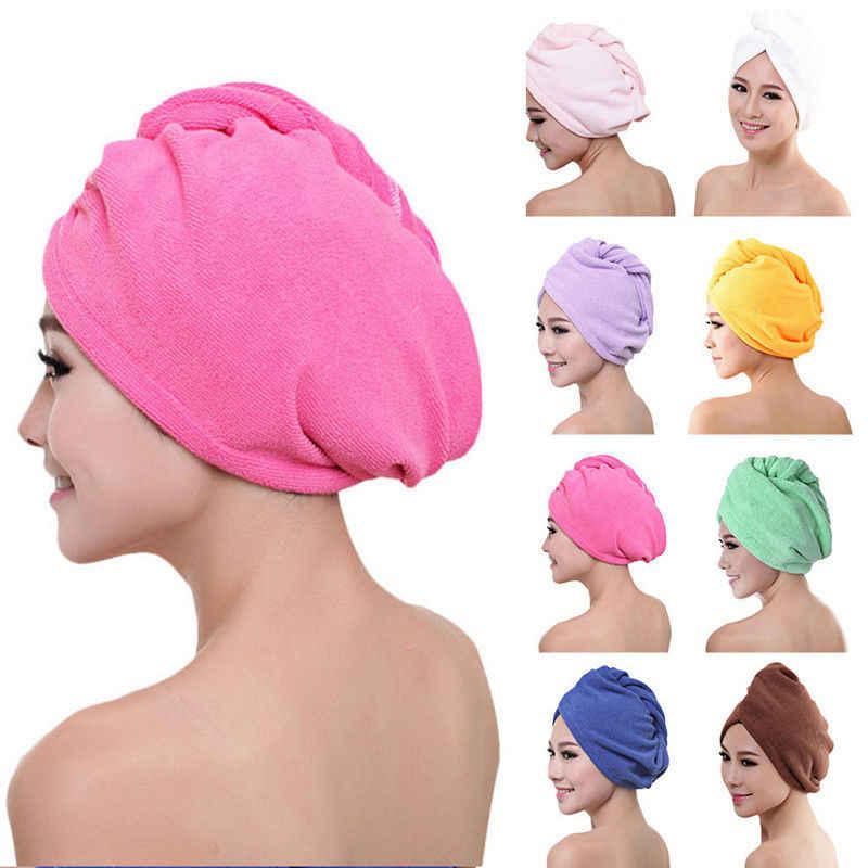 New Rapid Fast Drying Hair Absorbent Towel Turban Wrap Soft Shower Bath Cap Hat