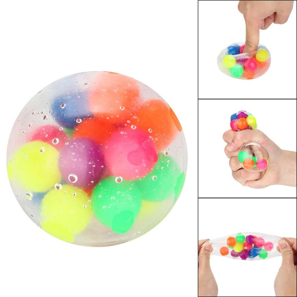 Anti-Pressure Anxiety Colorful Stress Relief Ball Kids Adult Squeeze Toy Spongy Bead Stress Ball Squeezable Stress Release Toys