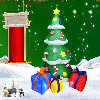 New Christmas Tree Santa Claus Decor Multicolor Gift Boxes Garden Holiday Yard LED Lights Decoration For New Year Party S24