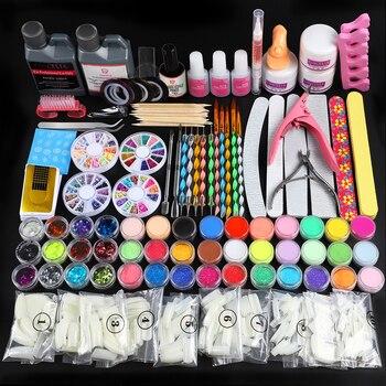 Pro Acrylic Set Full Manicure Kit Acrylic Powder Glitter 120ml Liquid For Nail Art Kit Clipper Tools Kit Brush For Manicure