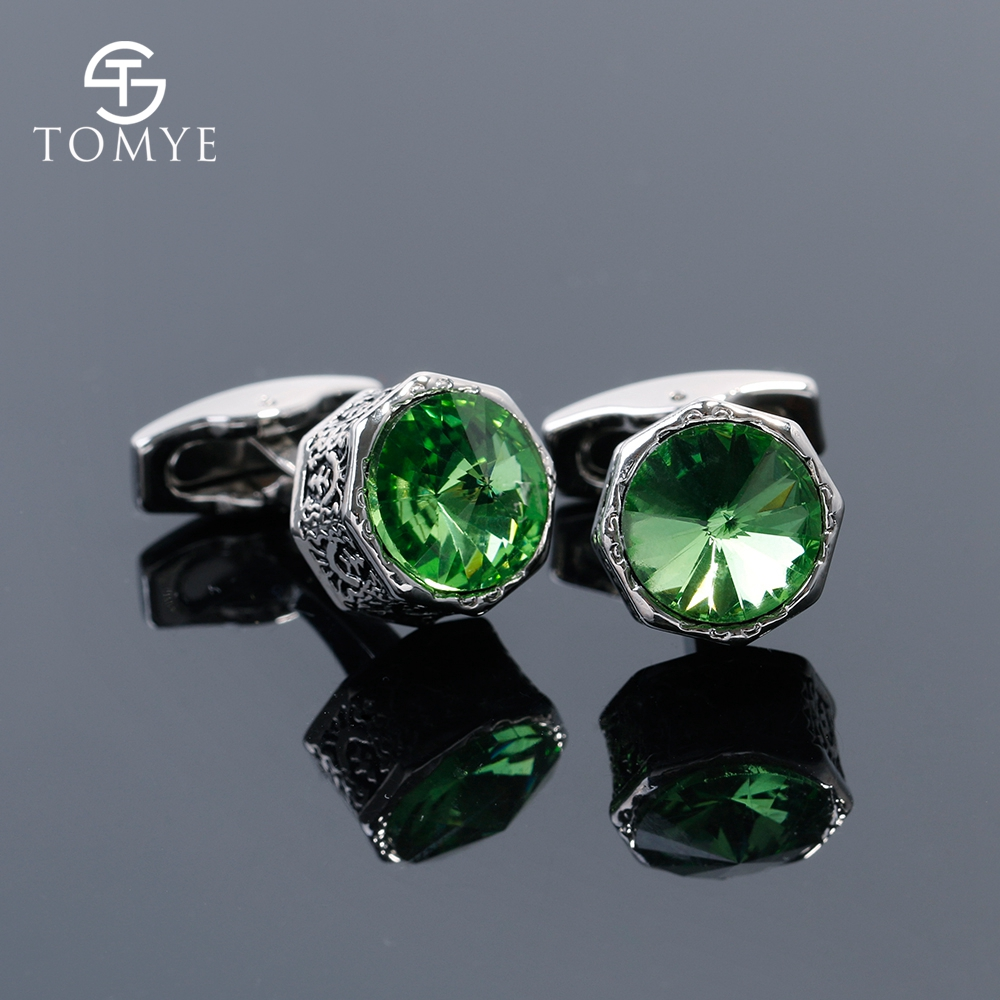 TOMYE Blue Green Crystal Octagonal Suit Shirt Cufflinks Silver Gift Men XK19S143