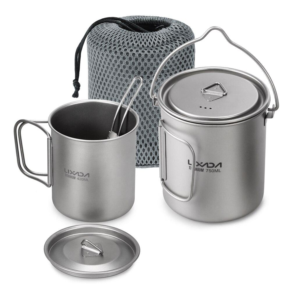 Lixada 3 Pcs Titanium 750ml Pot 420ml Water Cup Mug With Lid Handle Folding Spork For Outdoor Camping Hiking Picnic Backpacking