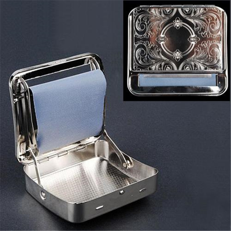 1pc 70mm Metal Automatic Cigarette Tobacco Smoking Smoke Roller Rolling Machine Box Case Tin High Class