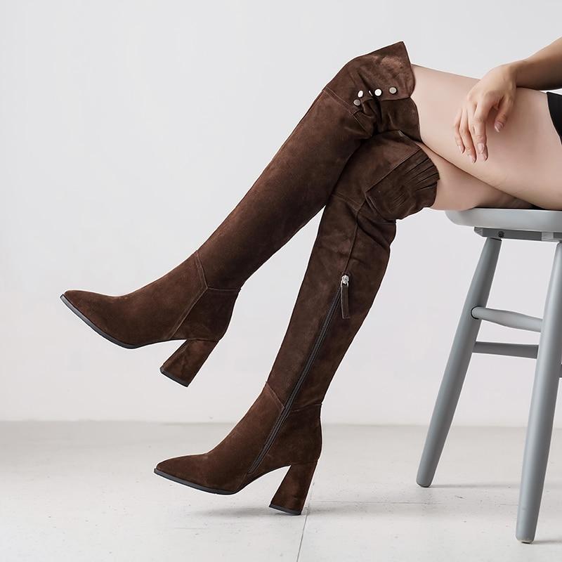 2019 femmes bottes longues Nubuck cuir genou haute dame bottes bouton élégant marque à la main bloc talon hiver femme chaud bottes