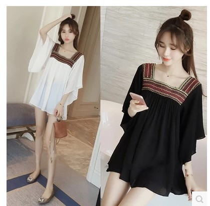 Large Size Fat Mm Mid-length Loose-Fit Dress Joint Embroidered Batwing Shirt Women's Chiffon Blouse