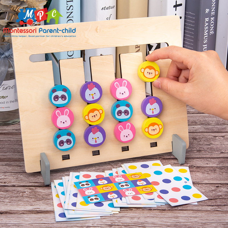 Montessori Toy Colors and Animal Double Sided Matching Game Logical Reasoning Training Kids Educational Toys Children Wooden Toy