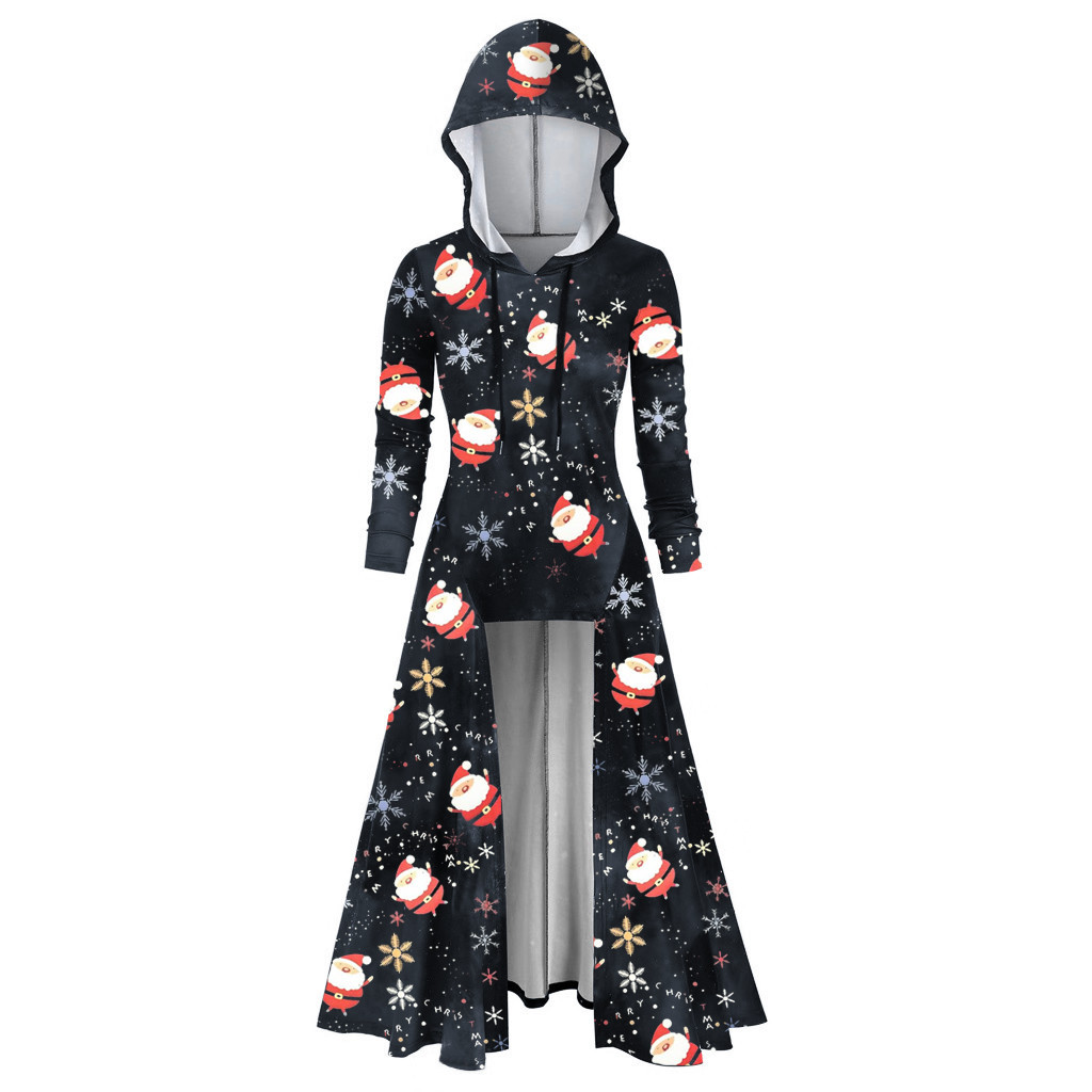 Christmas Print Women Hooded Plus Size Vintage Cloak High Low Dress Blouse Tops Hoodies 2019