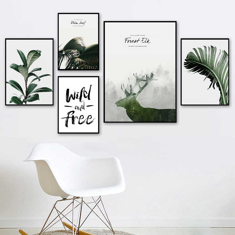 Nordic Minimalism Print Painting Art Posters Canvas Drawing Wall Deco Leaves Plant Picture for Modren Kids Bedroom Decoration