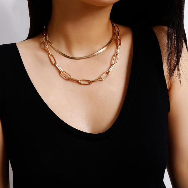 Punk Gothic Snake Chain Necklace 2020 Statement Fashion Bohemia Lock Aircraft Link Choker Necklace Women Jewelry 2Pcs/Set