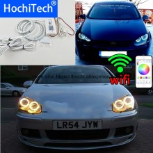 HochiTech Uitstekende RGB Multi-color halo rings kit auto styling voor Volkswagen Golf 5 MK5 03-09 angel ogen wifi afstandsbediening(China)