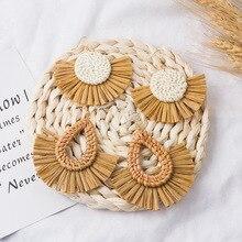 2019 Rattan Knit Teardrop Straw Tassel Earrings for Women Wicker Drop Earring Long Raffia Handmade Jewelry DIY