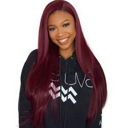 Красный Синтетические волосы на кружеве человеческие волосы парики предварительно вырезанные 13X6 глубокий Часть бразильские волосы Remy 99j б...