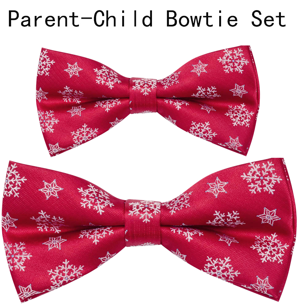 Ricnais Brand New Parent-child Christmas Bowtie Set Santa Claus Tree Silk Bow Tie For Men & Boys Christmas Festival Party Gifts