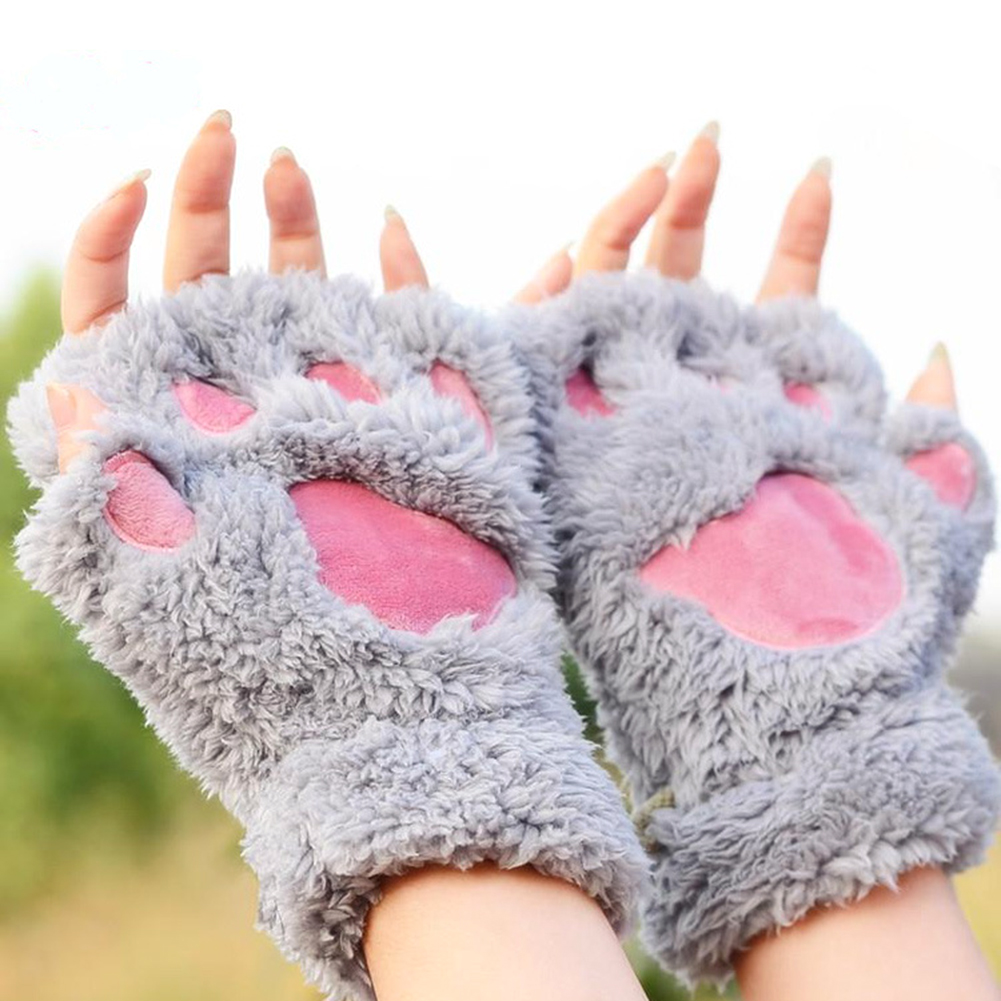 Women Cute Cat Claw Paw Mittens Warm Fingerless Fluffy Half Finger Gloves Animal Kawaii Gloves Cotton Female Gloves