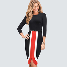 ARiby Women Fashion Casual Bodycon Slim Dress 2019 New Autumn Office Lady Elegant Spliced O-Neck Empire Fishtail Vestidos