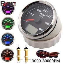 85 มม.แผงเครื่องวัดความเร็ว 0 6000RPM,0 8000RPM กันน้ำรถ Tacho เมตรความเร็วอัตราส่วนชั่วโมง 9 32V