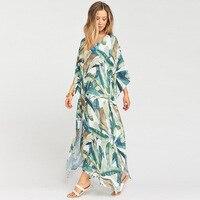 Plus size Bohemian Beach Dress Women Summer Beach Cover Up Tunic Sexy Robe Beachwear Kaftan