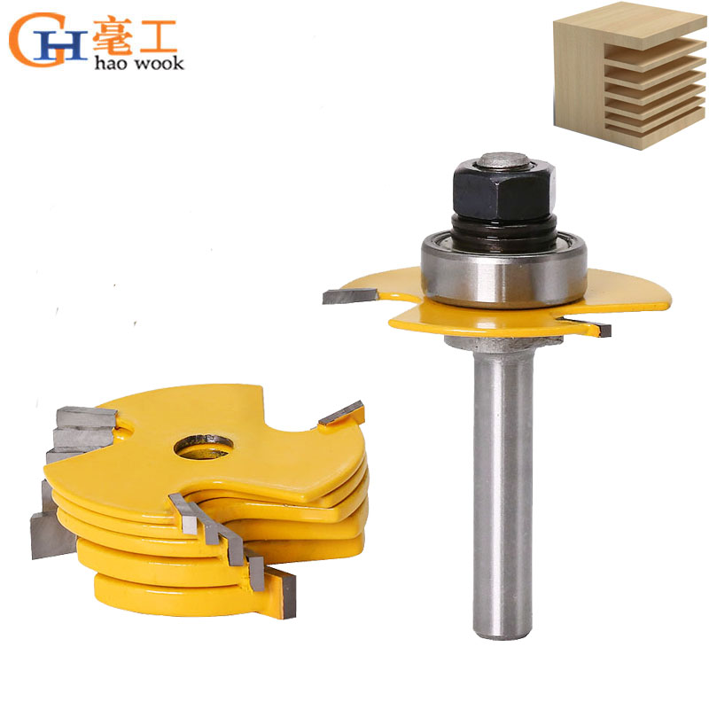 """Haowook 2Pc 6 Piece Slot Cutter 3 Wing Router Bit Set Chisel Cutter Tool- 8""""& 12"""" Shank Tenon Cutter for Woodworking Tools"""
