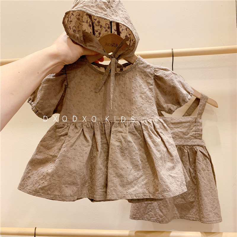 Cross-Border South Korea Girls Baby With Cap Baby Girl Clothes  Short Two Pieces Set Baby Clothes