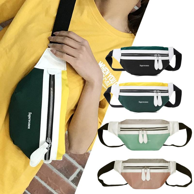 New Fashion Waist Bag Unisex Fanny Pack For Women Men Belt Canvas Patchwork Waist Pack Money Phone Chest Bags Bolso Mujer 2019