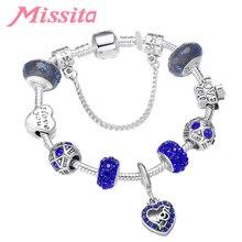 MISSITA Love Heart Series Blue Crystal Heart Pattern Pendant Bracelet for Women Silver Jewelry Brand Anniversary Gift Hot Sale classic heart pattern bracelet for women