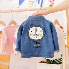 Spring Baby Boy Cartoon Lion Denim Jackets Toddler White Blu