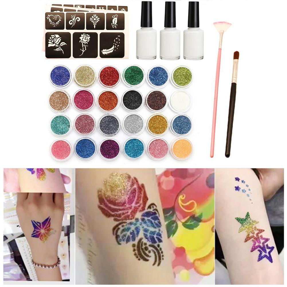 24colors Shimmer Glitter Beauty Art Stencil Professional Makeup Brush Glue Diamond Set Body Painting Henna Tattoo Kit 120templat