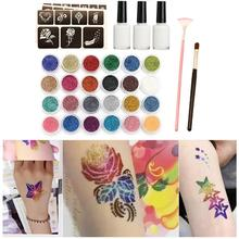 24colors Shimmer Glitter Beauty Art Stencil Professional Makeup Brush Glue Diamond Set Body Painting Henna Tattoo Kit 120templat