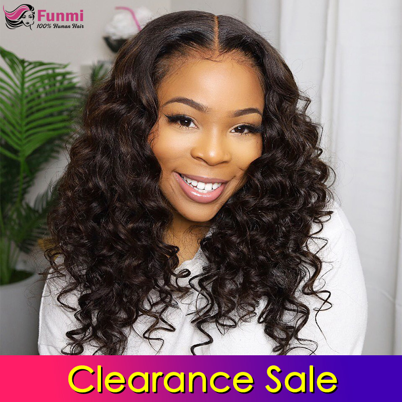 Clearance Sale 4x4 Lace Closure Wigs Human Hair Brazilian Loose Deep Wave Lace Wigs For Black Women Pre Plucked With Baby Hair