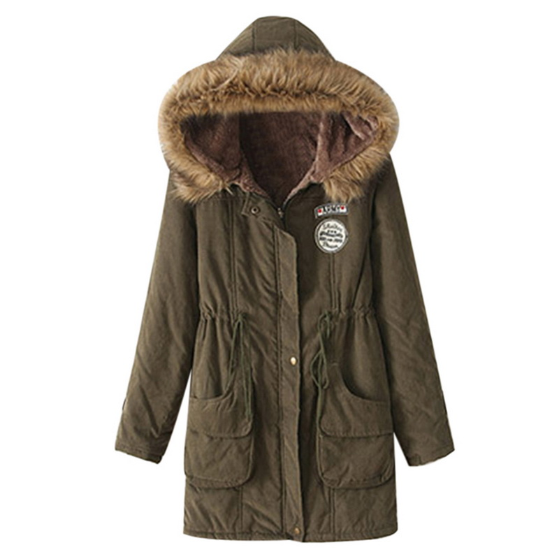CYSINCOS Winter Jacket Hooded Women Parka Plus-Size Long Slim Fashion Casual Female