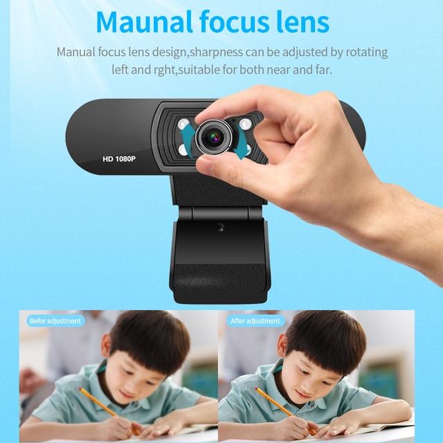 Ashu h800 completo hd vídeo webcam 1080p hd câmera usb webcam foco visão noturna computador câmera web com microfone embutido 5