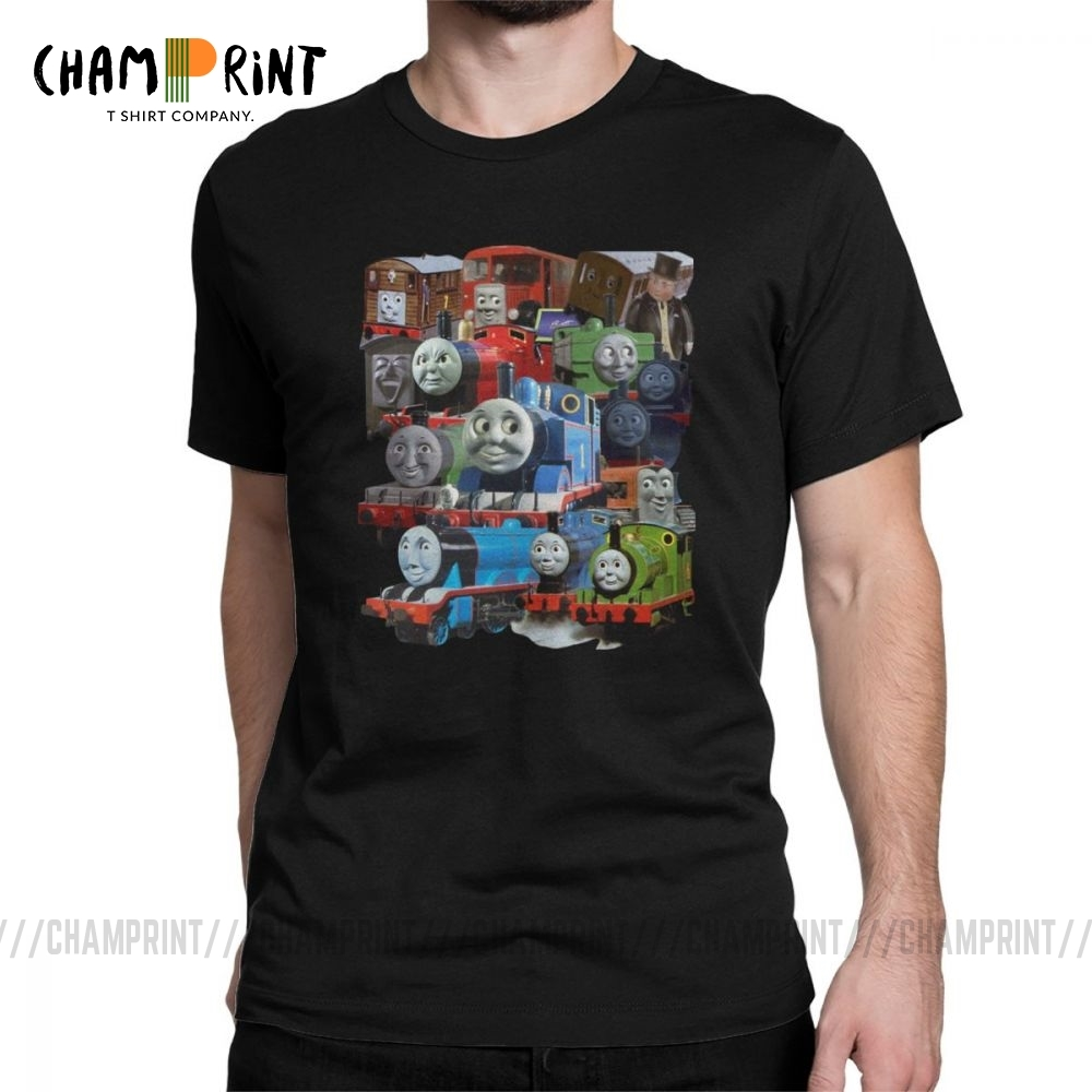 Thomas The Tank Engine And Friends Classic Design T-Shirts Men Vintage 100% Cotton Tee Shirt Short Sleeve T Shirts 6XL Tops