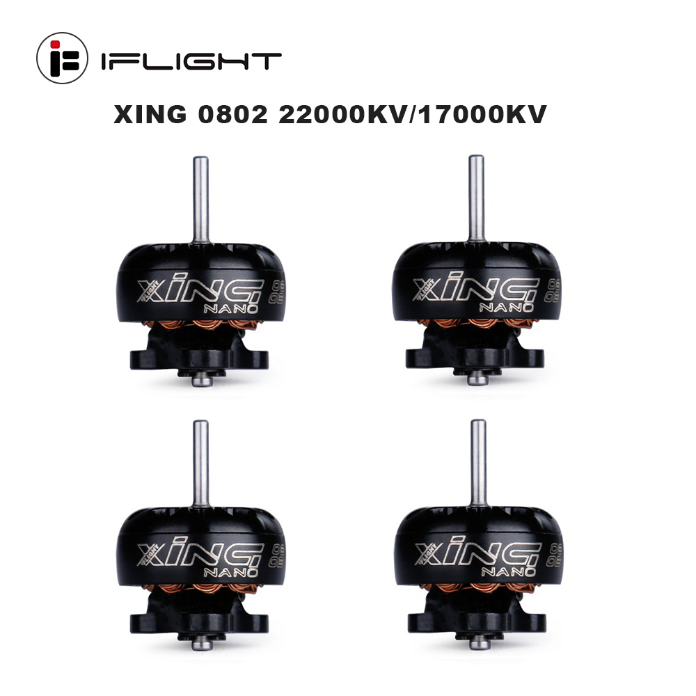 4pcs IFlight XING 1-<font><b>2S</b></font> 0802 22000KV/17000KV/15000KV Brushless <font><b>Motor</b></font> (Unibell w/Plug) For FPV Indoor Small Drone image