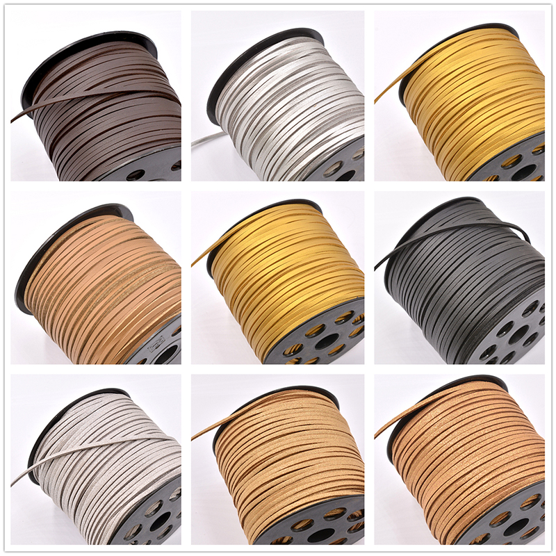 5meter/lot 3mm Flat Faux Suede Braided Cord Korean Velvet Leather Handmade Beading Bracelet Cord For Jewelry Making String Rope